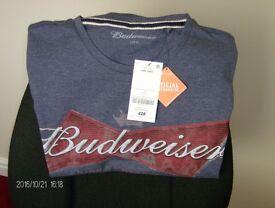 """Budweiser """"official Merchandise"""" T shirt."""