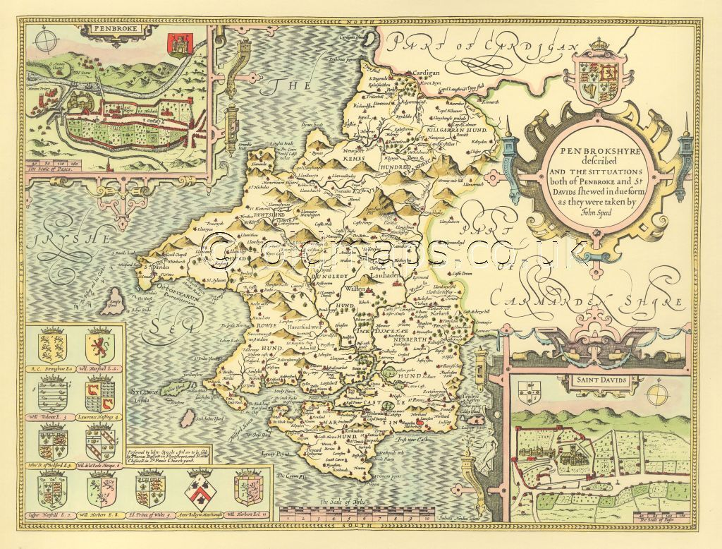Davids Pembroke Replica John Speed Old Map 1610 HAND COLOURED Pembrokeshire St