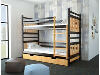 Brown and orange bunk bed with drawers