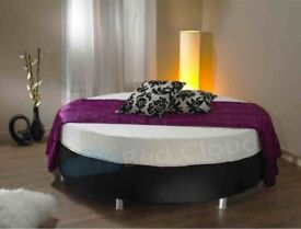 ROUND BED BASE 6FT DIAMETER BLACK FAUX COVERING NO MATRESS QUICK SALE £45.00