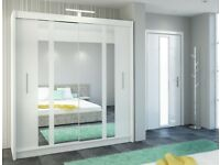 Star Wardrobe white colour 203 Sturdy Free Standing Wooden Sliding Door