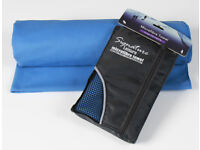 Brand New Blue Microfibre Towel and Storage Bag