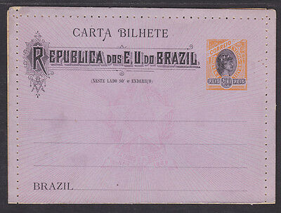 Brazil H G A35a Mint 1899 200R Orange   Black Liberty Letter Card