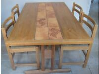 Retro 1970's Danish Dining Table and chairs in light oak
