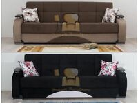 BRAND NEW HAND MADE PERSIAN FABRIC 3 SEATER SOFA BED WITH OTTOMAN STORAGE AND POCKET SPRING SEATS