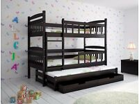 KARREN Triple Wooden Bunk Bed for Children/Kids made of Solid Wood