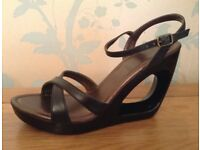 Women's Black Wedge Sandals Size 5.5 NEW/Boxed