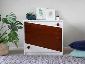 Mid Century Chest of Drawers, Upcycled in White
