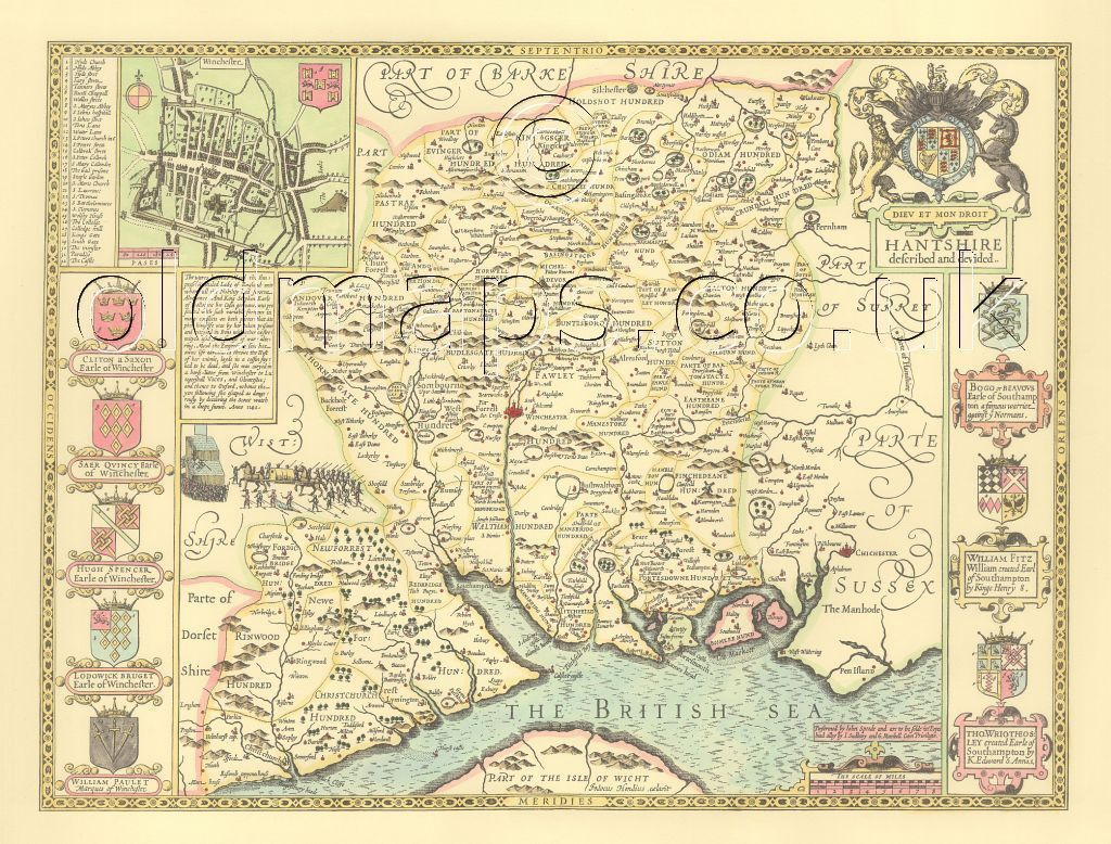 Isle of Wight Southampton PRINTED Replica Speed Old map c.1610.Full Size Copy