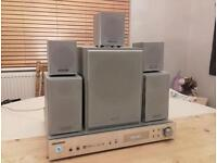 Home Cinema Samsung AV-R601 surround sound & Panasonic 5.1 speakers stands