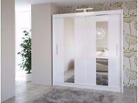 Star Wardrobe white colour 200cm Sturdy Free Standing Wooden Sliding Door SLIDER