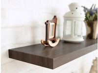 floating shelf in dark wood effect. 600 x 250 x 40mm. Cost £15.