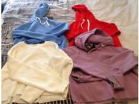 3 cropped hoodies and 1 cropped sweatshirt size 6
