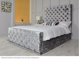 BRAND NEW **/// ** CHESTERFIELD CRUSHED VELVET BED FRAME SILVER, BLACK AND CREAM COLORS