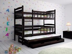 Scott Triple Wooden Bunk Bed for Kids made of Solid Wood 3 free mattress