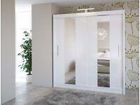 Star white 203 cm Sturdy Free Standing Wooden Sliding Door Wardrobe SLIDER