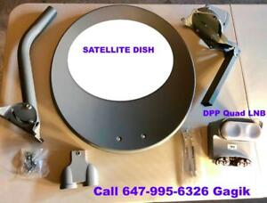 Bell satellite Dishes Twin Quad LNBs & DPP SW44 Receivers Installation