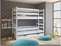 LUCY White Wooden Bunk Bed for Children/Kids made of Solid Wood