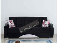 Turkish Fabric 3 Seater Sleeper Sofa Bed with Storage, Black Brown Sofabed Settee