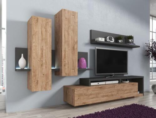 Tv Wandmeubel Wit.Wandmeubel Bello Tv Meubel Betonlook Tv Kast Wit Grijs Eiken