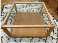 Lovely Solid Oak and Glass Coffee Table