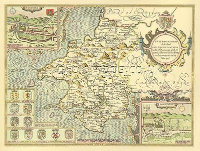 Pembrokeshire St. Davids Pembroke Replica giclée PRINTED Speed Old Map 1610