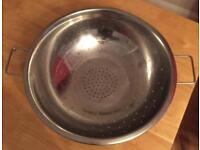 Large stainless steel colander (40cm diameter) for sale only £5