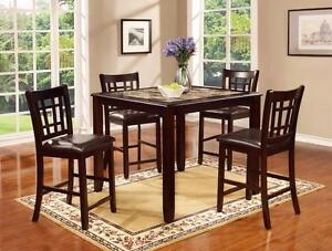 $497 - 5-PIECE ESPRESSO TABLE AND CHAIRS SET