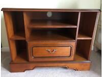 Cherry wood corner TV unit stand with storage draw