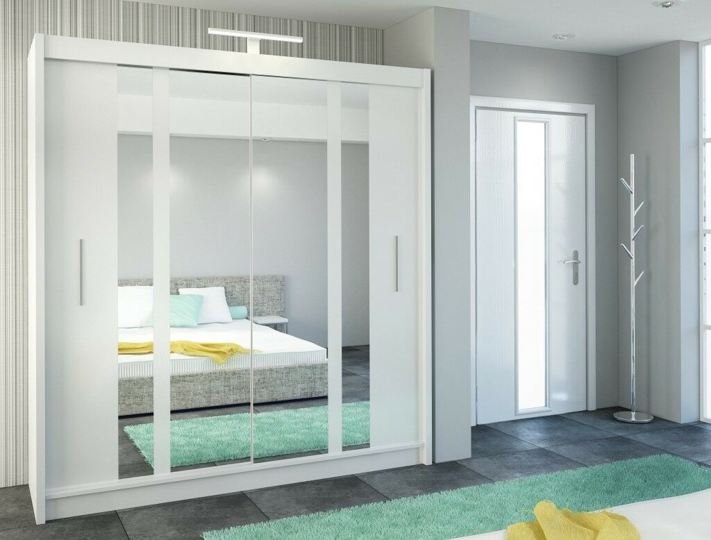 Sliding door wardrobe 203cm. with mirrors and led lights NEW in BOX