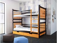 Brown and orange wooden Bunk bed for sale