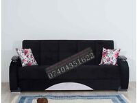 Hand made Turkish 3 seater fabric sofa bed with storage plus 2 free pillows