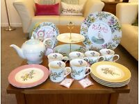 Katie Alice Shabby Chic Afternoon Tea-Set Collection. Teapot, 6 Tea-cups, 6 Side Plates, Cake Stand