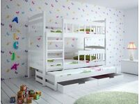 Karren white Triple Wooden Bunk Bed for Kids made of Solid Wood with 3 free mattress