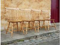 4 Solid Pine Chairs Kitchen Dining Rustic Farmhouse
