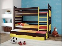 ALICE Triple Wooden Bunk Bed for Children/Kids made of Solid Wood