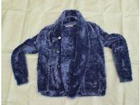 M&S Blue NIGHTSHADE Furry Fleece Lightweight Jacket