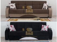 BRAND NEW Hand Made Persian 3 Seater Fabric Sofa Bed with Ottoman Storage in Black Brown color