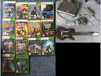 XBox 360 with 15 games & guitar hero controller
