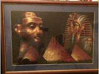 Framed papyrus painting