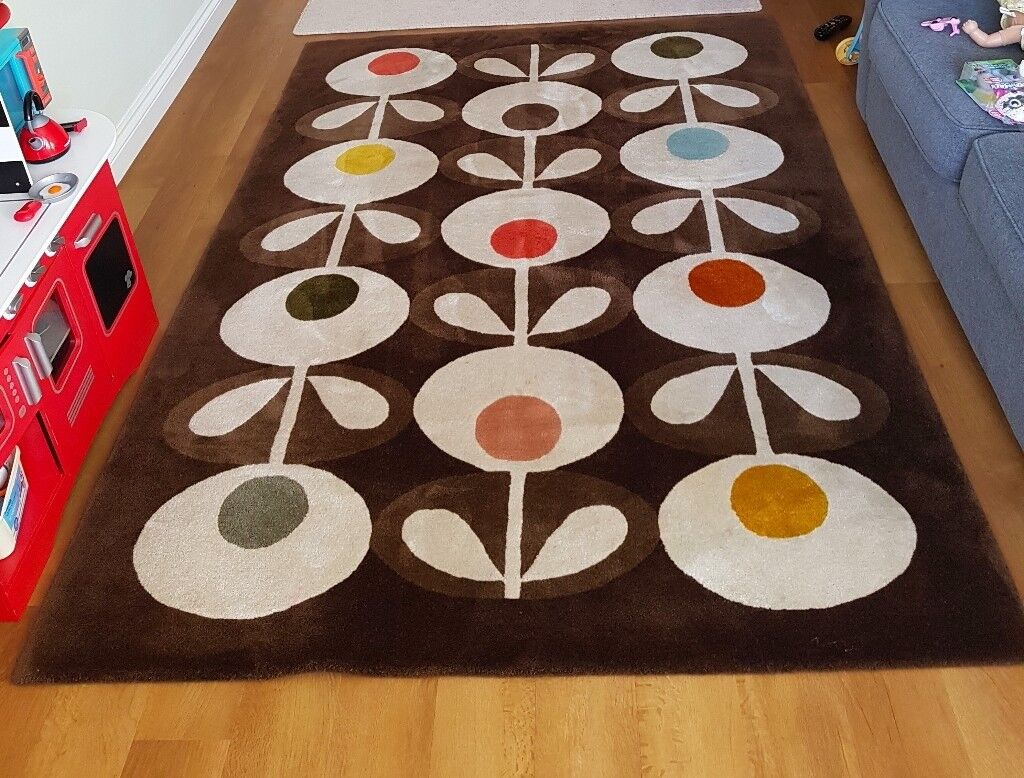 Orla Kiely Rug Large 100 Wool Flowers Range Brown 160cm X 230cm