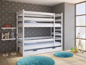 white bunk bed with drawers storage
