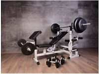 Gorilla Sports Weights Bench, Including 100kg Weights, 2 Bars & 2 dumbbells + Gloves
