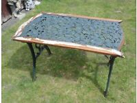 (#807) old garden flower pattern cast iron table (Pick up only, Dy4 area)