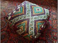 Vintage XXL Moroccan Kilm Rug Floor Cushion Pillow Foot Rest Pouffe