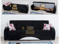 BRAND NEW Persian Sofa Bed with Ottoman Storage - 3, 2, 1 Seater Fabric Sofabed in Black Brown color