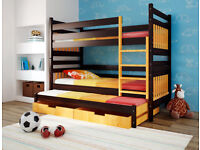 Triple brown and orange wooden bunk bed