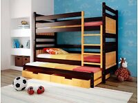 Kim Triple Wooden Bunk Bed for Children Kids Solid Wood