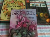 Three different Decoupage books, one contains 5 sheets of Decoupage designs.
