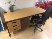 Office Desk - Beech Finish - 3 drawer